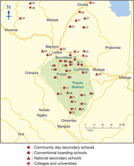 Map of schools, colleges, universities